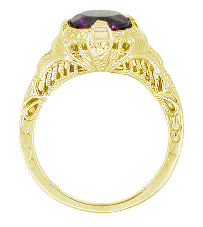 Art Deco 1 Carat Amethyst Engraved Filigree Engagement Ring in 14 Karat Yellow Gold - Item: R161YAM - Image: 1