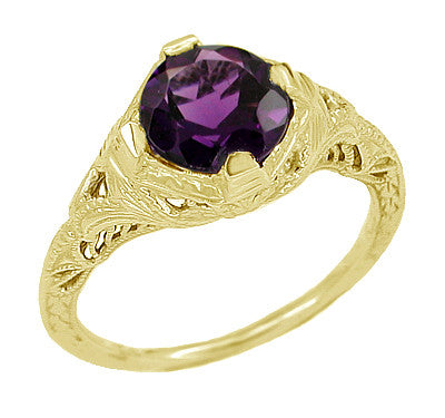 Art Deco 1 Carat Amethyst Engraved Filigree Engagement Ring in 14 Karat Yellow Gold