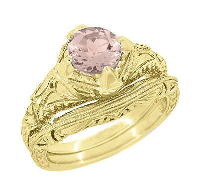 Art Deco Engraved Filigree Morganite Engagement Ring in 14 Karat Yellow Gold - Item: R161YM - Image: 2
