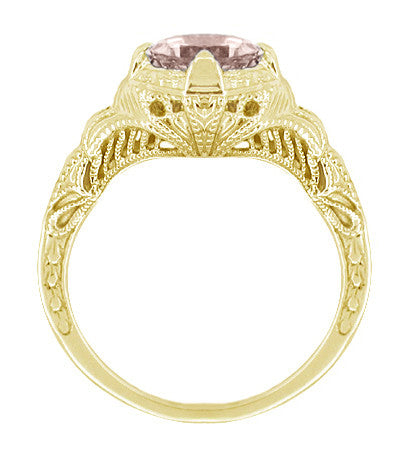Art Deco Engraved Filigree Morganite Engagement Ring in 14 Karat Yellow Gold - Item: R161YM - Image: 1