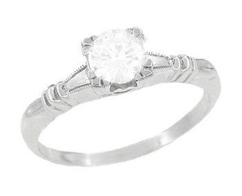 Art Deco Platinum Hearts and Clovers Diamond Solitaire Engagement Ring