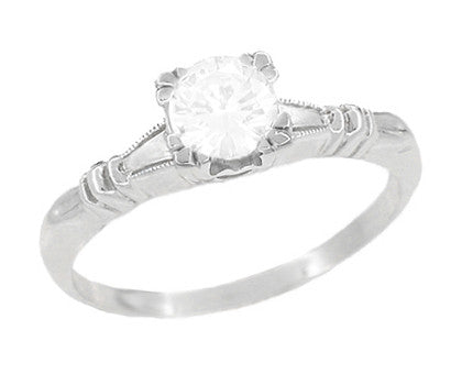 Art Deco Hearts and Clovers Diamond Solitaire Engagement Ring in Platinum