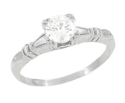 Art Deco Hearts and Clovers White Sapphire Solitaire Engagement Ring in Platinum