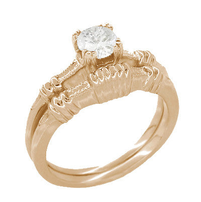 Art Deco Clovers and Hearts White Sapphire Engagement Ring in 14 Karat Rose ( Pink ) Gold - Item: R163R50WS - Image: 2