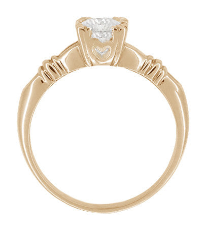 Art Deco Clovers and Hearts White Sapphire Engagement Ring in 14 Karat Rose ( Pink ) Gold - Item: R163R50WS - Image: 1