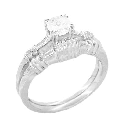 Art Deco Hearts and Clovers Diamond Solitaire Engagement Ring in 14K White Gold - Item: R163W50D - Image: 2