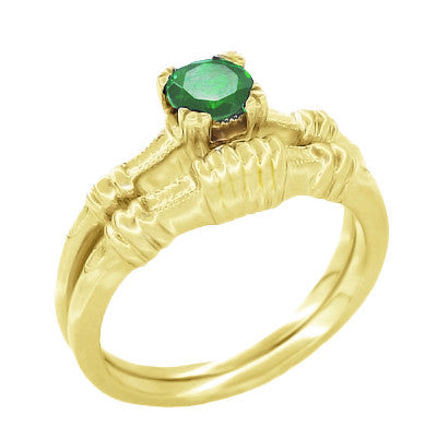 Art Deco Hearts and Clovers Emerald Engagement Ring in 14 Karat Yellow Gold - Item: R163Y - Image: 2