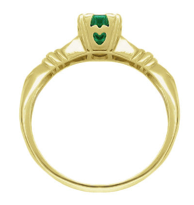Art Deco Hearts and Clovers Emerald Engagement Ring in 14 Karat Yellow Gold - Item: R163Y - Image: 1
