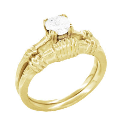 1940's Secret Hearts Solitaire Diamond Engagement Ring in 14 Karat Yellow Gold - Item: R163Y50D - Image: 2