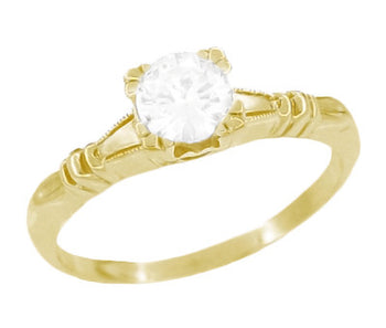 1940's Secret Hearts Solitaire Diamond Engagement Ring in 14 Karat Yellow Gold