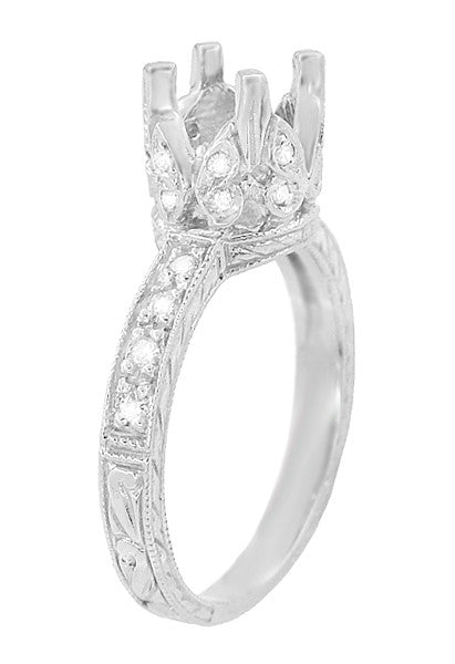 Art Deco Loving Butterflies Filigree Engagement Ring Setting for a 1 Carat Round Diamond in 18 Karat White Gold - Item: R178 - Image: 3