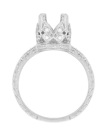 Art Deco Loving Butterflies Filigree Engagement Ring Setting for a 1 Carat Round Diamond in 18 Karat White Gold