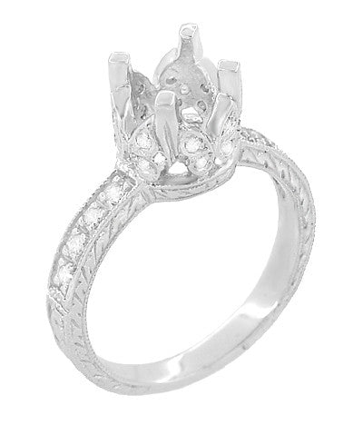 Art Deco Engraved Filigree Loving Butterflies Engagement Ring Setting in Platinum for a 1 Carat Diamond - Item: R178P - Image: 2