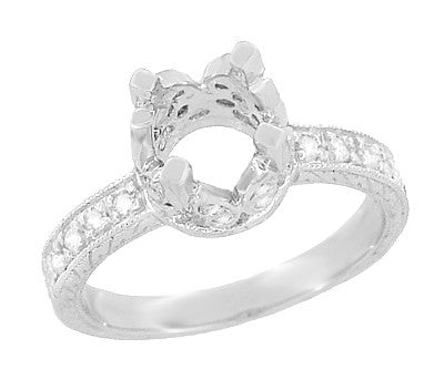 Art Deco Engraved Filigree Loving Butterflies Engagement Ring Setting in Platinum for a 1 Carat Diamond - Item: R178P - Image: 1