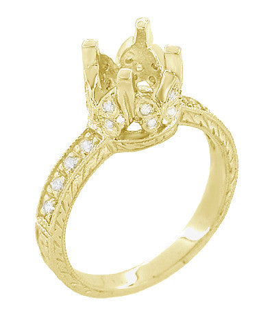 Art Deco 1 Carat Diamond Filigree Loving Butterflies Engraved Engagement Ring Setting in 18 Karat Yellow Gold - Item: R178Y - Image: 2