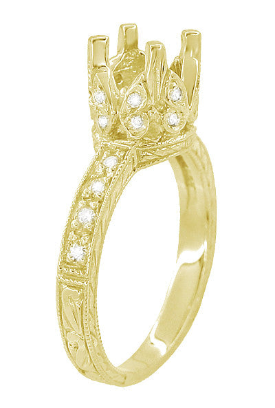 Art Deco 1 Carat Diamond Filigree Loving Butterflies Engraved Engagement Ring Setting in 18 Karat Yellow Gold - Item: R178Y - Image: 3