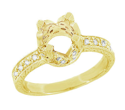 Art Deco 1 Carat Diamond Filigree Loving Butterflies Engraved Engagement Ring Setting in 18 Karat Yellow Gold - Item: R178Y - Image: 1