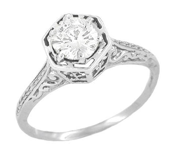 Vintage Style Hexagon 1/3 Carat Diamond Engagement Ring in 14K White Gold - Art Deco Engraved Scroll Filigree