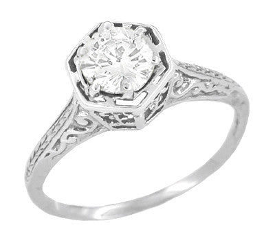 Art Deco Vintage Design Hexagonal 1/3 Carat Diamond Filigree Engagement Ring in 14K White Gold - Engraved Scrolls