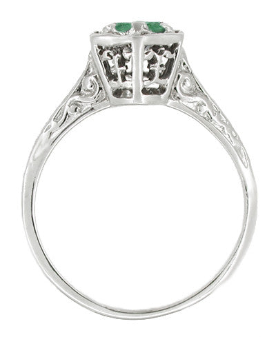 Art Deco Hexagon Emerald Filigree Engagement Ring in 14 Karat White Gold - Item: R180W33E - Image: 1