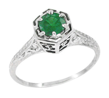 Art Deco Hexagon Emerald Filigree Engagement Ring in 14 Karat White Gold