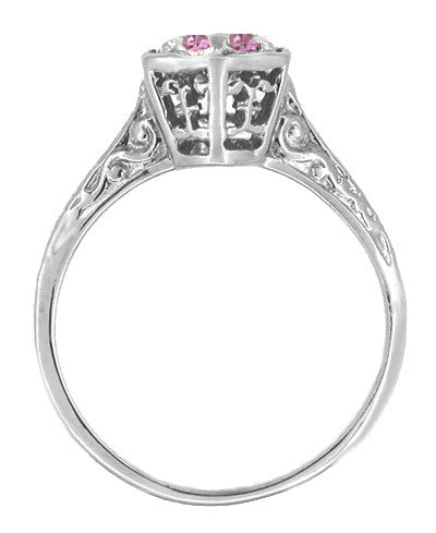 Hexagonal Art Deco Pink Sapphire Filigree Engagement Ring in 14K White Gold - Item: R180W33PS - Image: 1