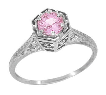 Hexagonal Art Deco Pink Sapphire Filigree Engagement Ring in 14K White Gold