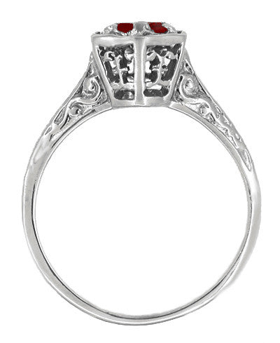 Art Deco Hexagon 1/2 Carat Ruby Filigree Ring in 14 Karat White Gold - Item: R180W33R - Image: 1