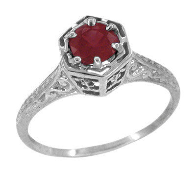 Art Deco Hexagon 1/2 Carat Ruby Filigree Ring in 14 Karat White Gold
