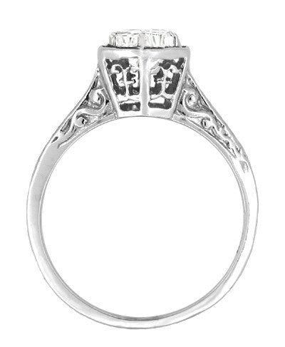 Hexagon Art Deco White Sapphire Filigree Engagement Ring in 14K White Gold - Item: R180W33WS - Image: 1