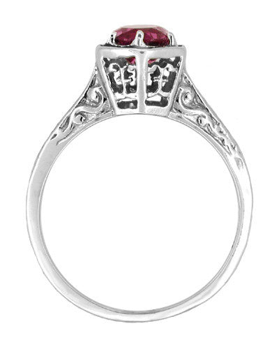 Art Deco Antique Style Filigree Hexagonal 1.20 Carat Rhodolite Garnet Engagement Ring in 14K White Gold - Item: R180W75G - Image: 1