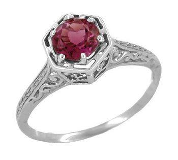 Art Deco Antique Style Filigree Hexagonal 1.20 Carat Rhodolite Garnet Engagement Ring in 14K White Gold