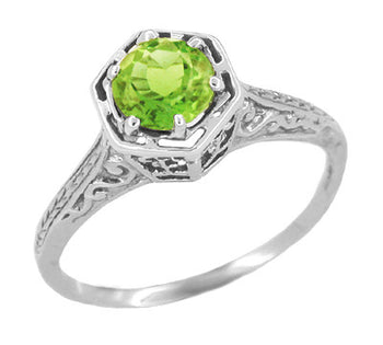 Art Deco Peridot Engraved Filigree Ring in 14 Karat White Gold