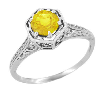 Art Deco Yellow Sapphire Filigree Hexagon Engagement Ring in 14 Karat White Gold
