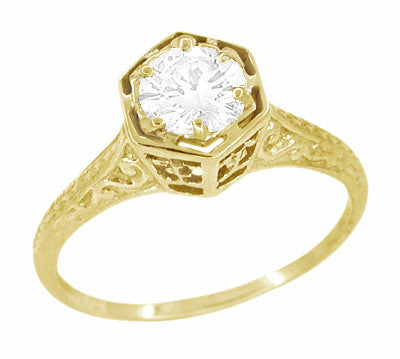 Vintage Engraved 1/3 Carat Art Deco Hexagonal Filigree Diamond Engagement Ring in 14K Yellow Gold