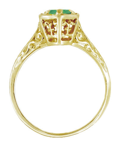 Art Deco Emerald Hexagonal Filigree Engagement Ring in 14K Yellow Gold - Item: R180Y33E - Image: 1