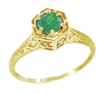 Art Deco Emerald Hexagonal Filigree Engagement Ring in 14K Yellow Gold