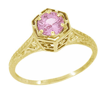 Art Deco 14 Karat Yellow Gold Pink Sapphire Hexagon Filigree Engagement Ring