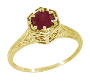 Art Deco Filigree Hexagonal Ruby Ring in 14K Yellow Gold - July Birthstone