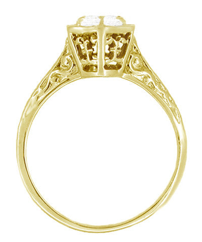 Art Deco White Sapphire Hexagonal Filigree Engagement Ring in 14K Yellow Gold - Item: R180Y33WS - Image: 1