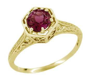 Art Deco 1.20 Carat Rhodolite Garnet Engraved Hexagon Filigree Engagement Ring in 14K Yellow Gold