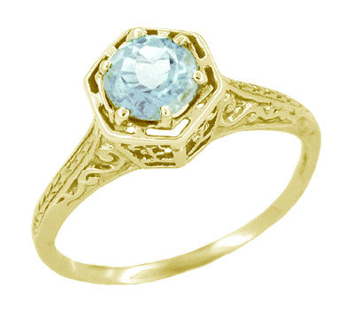 Art Deco Filigree Hexagonal 3/4 Carat Aquamarine Engagement Ring in 14K Yellow Gold
