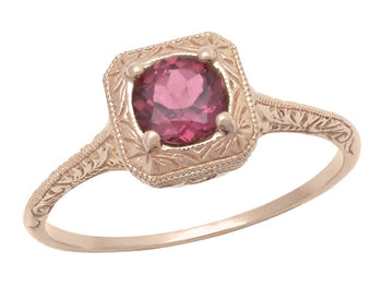 Rhodolite Garnet Filigree Scrolls Engraved Engagement Ring in 14 Karat Rose ( Pink ) Gold