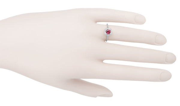 Filigree Scrolls Art Deco Engraved Rhodolite Garnet Engagement Ring in 14 Karat White Gold - Item: R182W - Image: 3