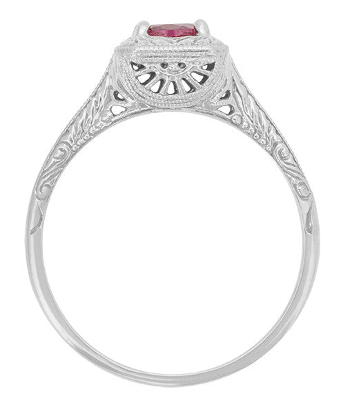 Filigree Scrolls Art Deco Engraved Rhodolite Garnet Engagement Ring in 14 Karat White Gold - Item: R182W - Image: 1