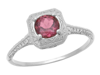 Filigree Scrolls Art Deco Engraved Rhodolite Garnet Engagement Ring in 14 Karat White Gold