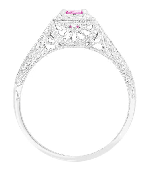 Filigree Scrolls Engraved Platinum Pink Sapphire Art Deco Engagement Ring - Item: R183PPS - Image: 1