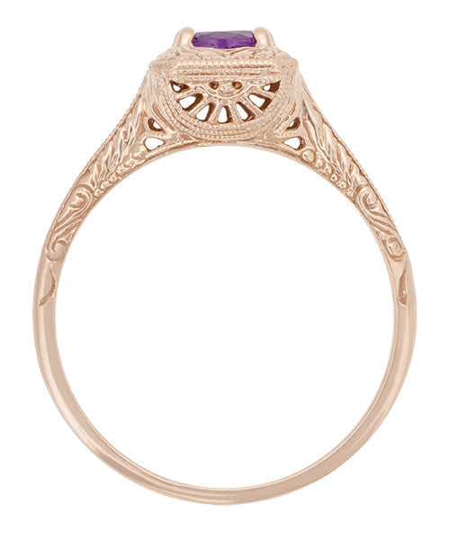 Art Deco Amethyst Filigree Scrolls Engraved 14 Karat Rose Gold Engagement Ring - Item: R183RAM - Image: 1
