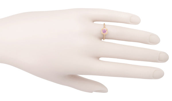 Filigree Scrolls Engraved Pink Sapphire Engagement  Ring in 14 Karat Rose ( Pink ) Gold - Item: R183RPS - Image: 3