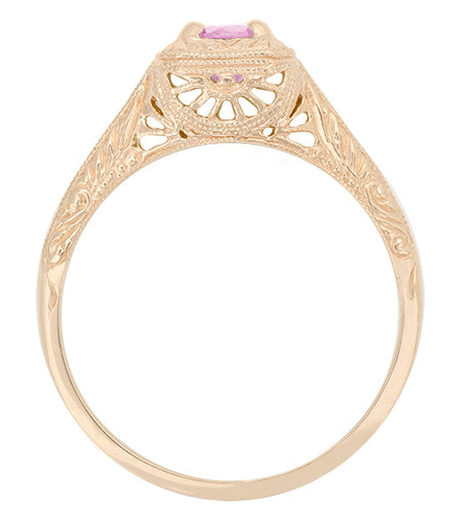 Filigree Scrolls Engraved Pink Sapphire Engagement  Ring in 14 Karat Rose ( Pink ) Gold - Item: R183RPS - Image: 1